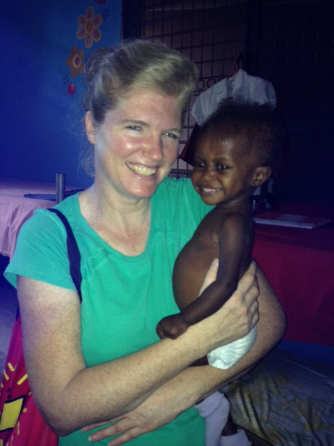 Mya is two and came to the orphanage right  before Christmas weighing just six pounds. She had been left at the Les Cayes Hospital. Now she is at 13 pounds a month later and is very happy and smiles a lot!
