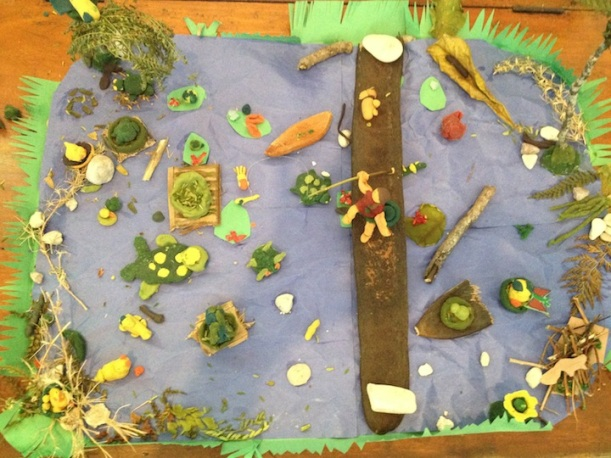 Since the class has been studying ponds they made a 3D pond scene complete with Mrs. Leger in a longboat!
