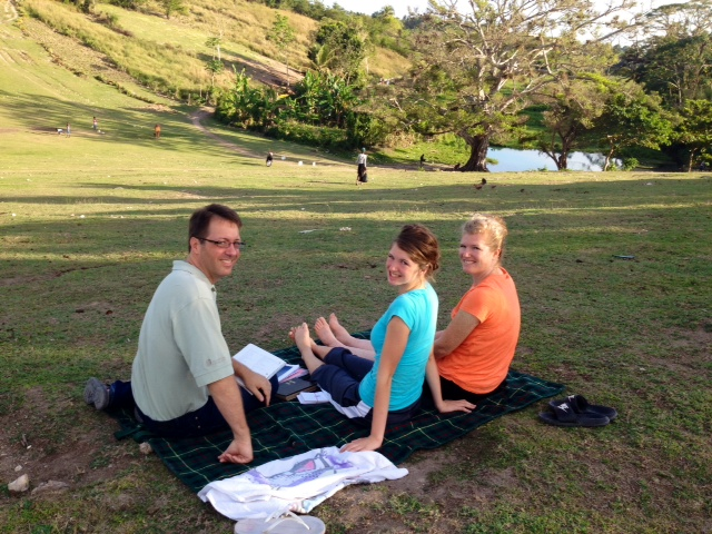 Sometimes is is good to get out of the house to study our Creole lessons. Learning a new language as a family is very interesting!