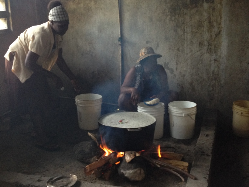 An expertly managed fire, float some hot peppers in there for flavor and it soon smells great!