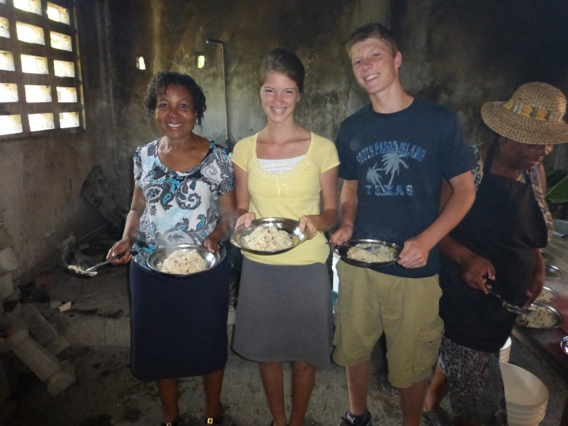 Sampling the best rice and beans yet!