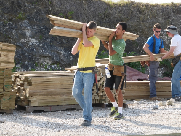 Precut lumber had to be moved to assembly areas.