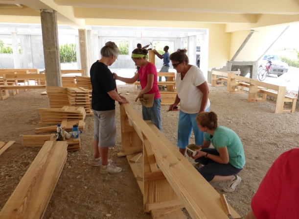The stacks of benches grew quickly!