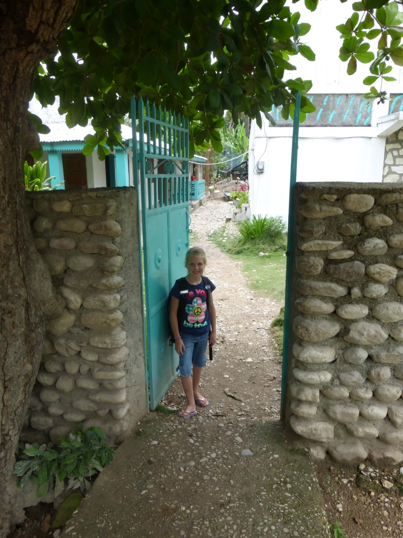 The front gate to the street -- a very busy area at times!