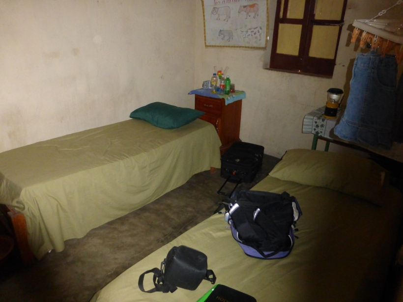 One of the bedrooms where the kids slept. The windows were kept closed all the time and it was usually dark and hot!