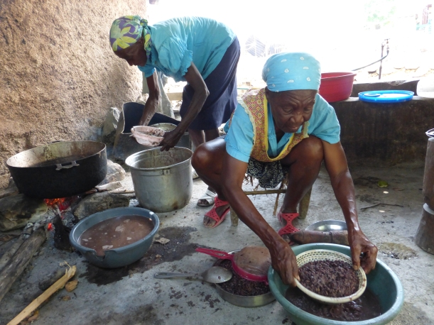 Haitians do a lot of food preparation by squatting. We like our countertops!