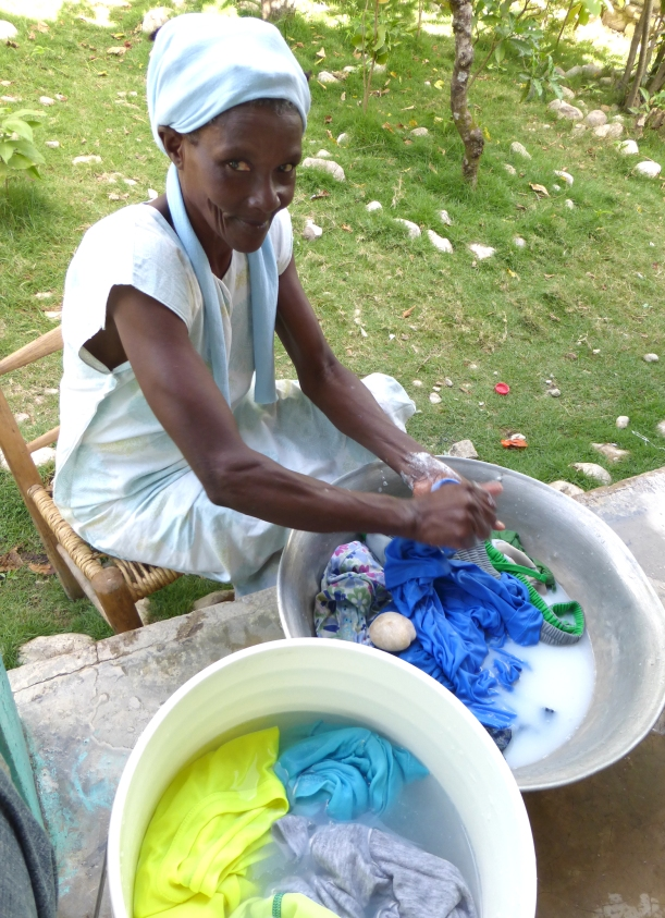 What gets wet has to dry. There are no electric dryers in Haiti! Wash gets started early so it has a chance to dry by evening!