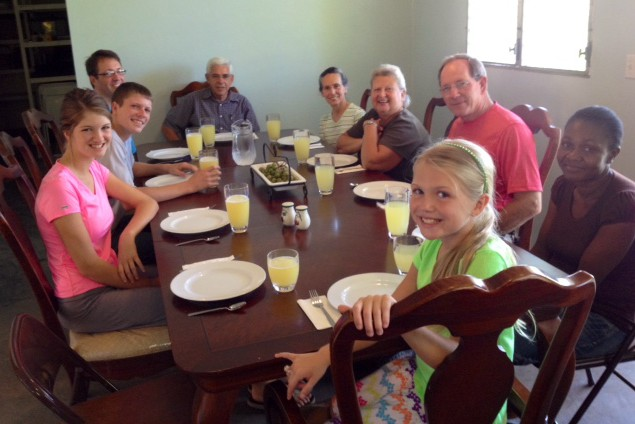 Our first meal in our nearly ready home when Marvin & Nancy Dotterer and John & Kristie Zeller came to visit!