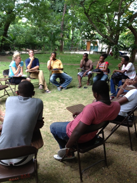Sharing the gospel with a conversation club at the American University of the Caribbean.