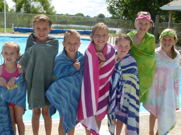 "These ""bathing beauties"" had a great time using the campground pool at Grace's birthday party!"