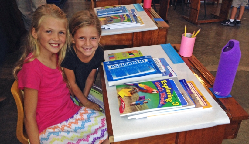 """Grace in her classroom with her """"forever friend,"""" Faith Reinhard, who has moved back to Illinois."""