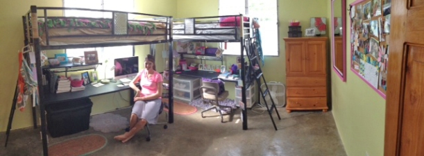 Trinity and Grace enjoy their new room! Trinity spends most of her day here in school and studying.
