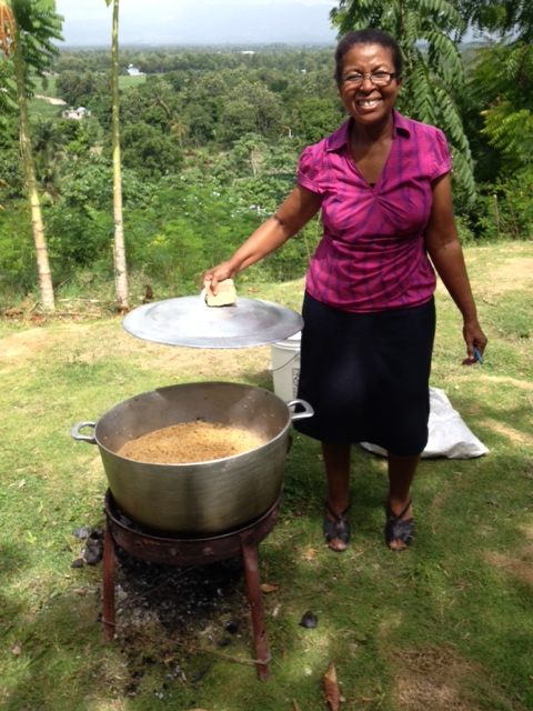 Here is an amazing woman! Marie Lucie not only runs almost the whole child care operation single-handedly, she also decided to start cooking a meal for the students!