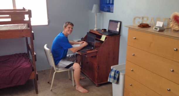 Grant is enjoying his own room (it will convert into a guest room at times) and and also enjoying his flex schedule for online college!