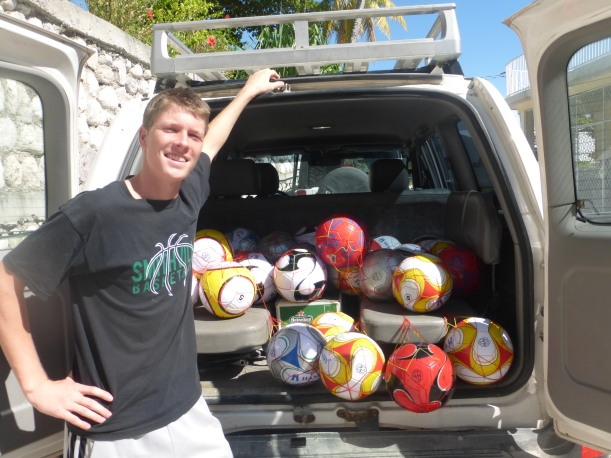 Grant has been helping raise money for a local soccer team and giving balls where he can