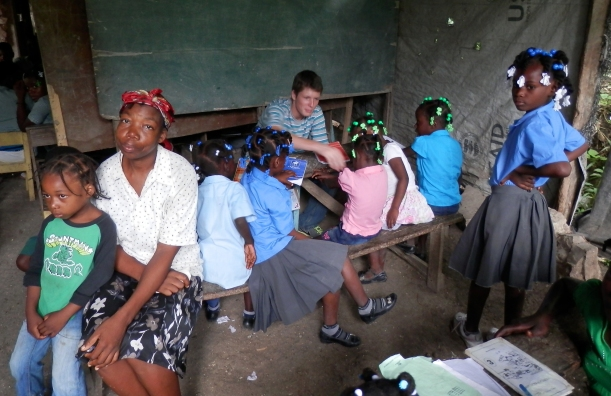 Grant was thrilled he got to go on a recent visit to a new school we will be sponsoring up in the mountains!