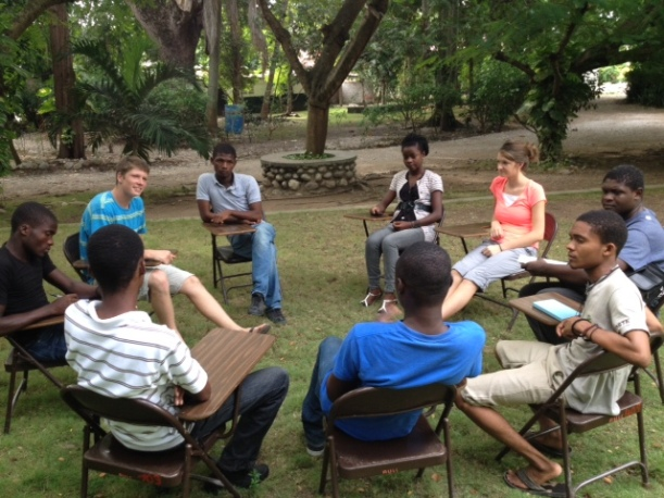 The English conversation club is one of Trinity's favorite parts of the week.