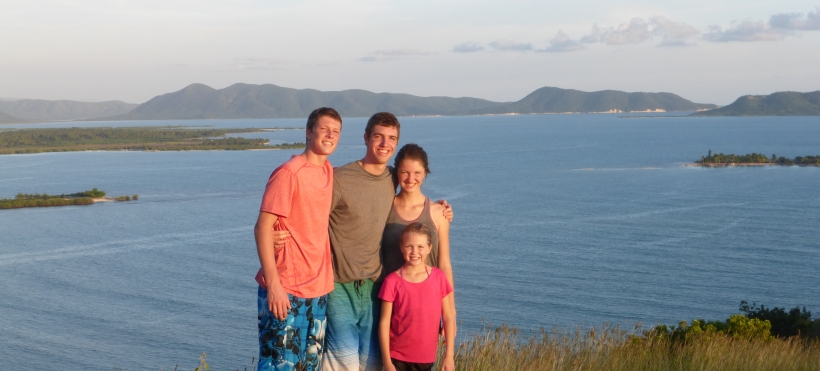 Grant, Trinity & Grace were so excited to have Evan around again! We climbed the hill next to Zanglais Beach and this is the view to the east.