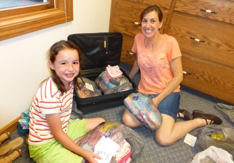 Underwear, everything goes into the suitcases for delivery to Haiti!