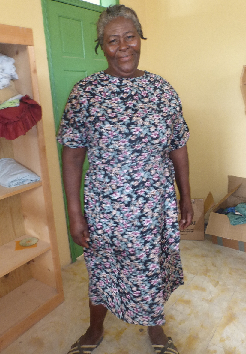 Madame Julien, the cook at the guesthouse, loved the homemade dress. It fit her so well! She was very thankful for it!