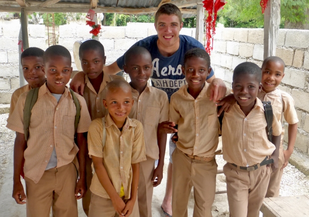 "The boys from ""Godi"" primary school couldn't wait to get a photo with Evan. He was able to catch their attention!"
