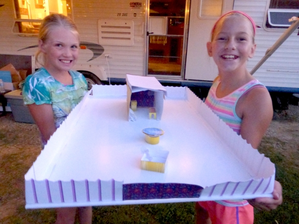 Grace enjoyed going to VBS with Brooke Gucker. One of their projects was to construct a miniature temple