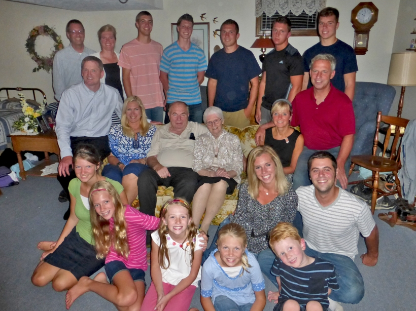 "Finally after many years, a photo of Susie's entire family and in ""our basement!"""