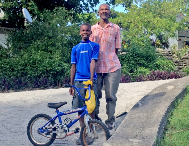 The blind beggar and his son come by several times a week. The boy got Grace's old bike on his last visit!