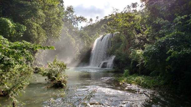 Maturin Falls, one of our favorite places in Haiti! The kids will climb up and jump from that ledge in the middle.