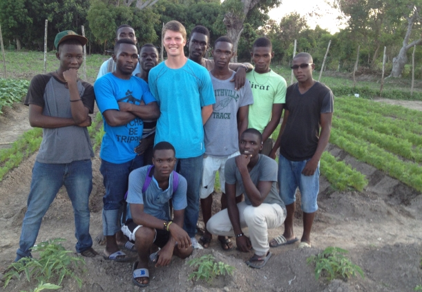 Grant has a group of boys working hard on a new project, a half-acre garden!