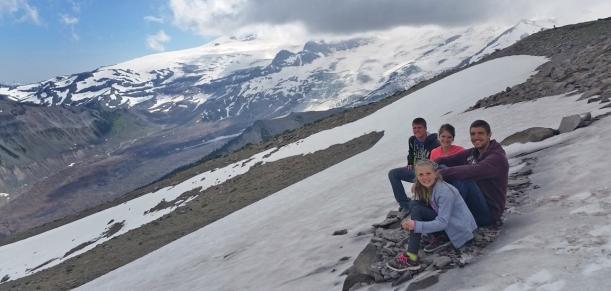 Hiking up near Mt. Rainier and finally reaching snow!