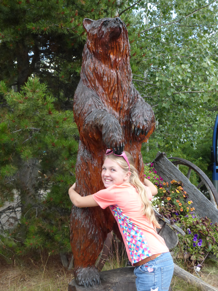 Grace was more than a little nervous we would find a real bear...so she was glad to hug this one instead!