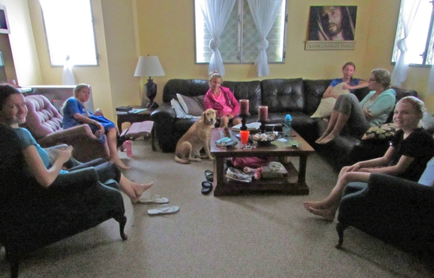 This is the group that stayed with us a few days...and Jersey the dog!