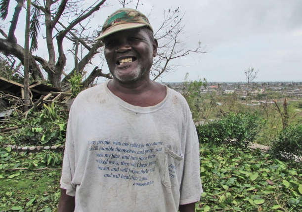 We found this worker with this shirt the day following the hurricane!