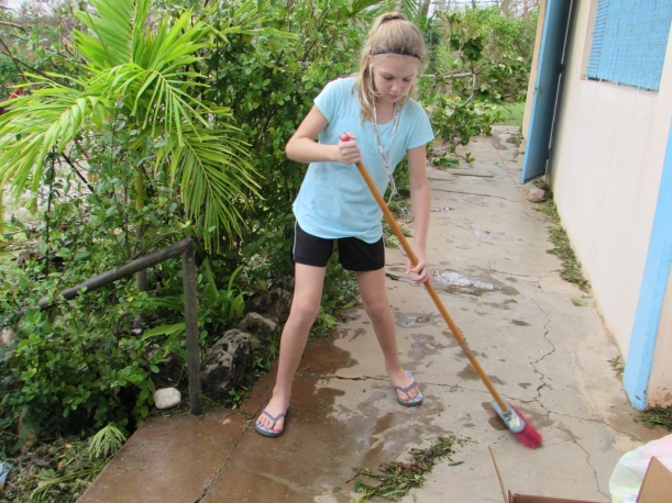 Everyone was needed to help clean up homes, roads, and the school!
