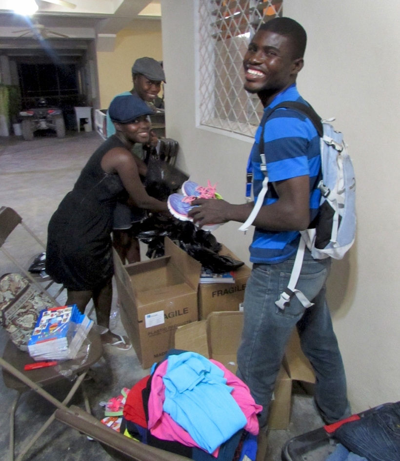 Here was David and friends sorting through donations beforehand to prepare the children's gifts!