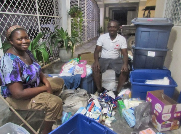 Figuens and his wife spent two evenings to divide the items into care packs!