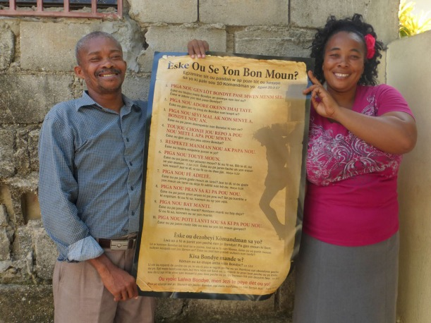 This poster is a teaching aid on salvation and the Ten Commandments that bring the knowledge of sin!